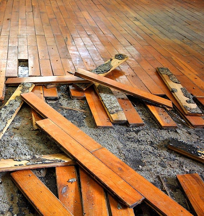 Wood flooring affected by water damage